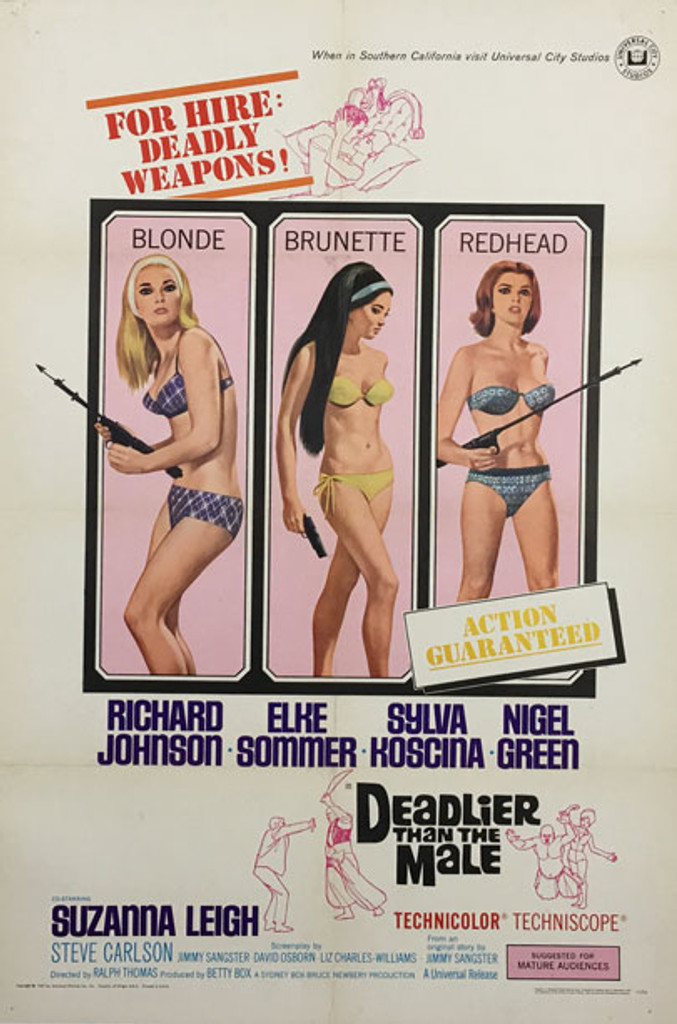 Deadlier Than The Male - For Hire Deadly Weapons! original American vintage movie poster from 1967.