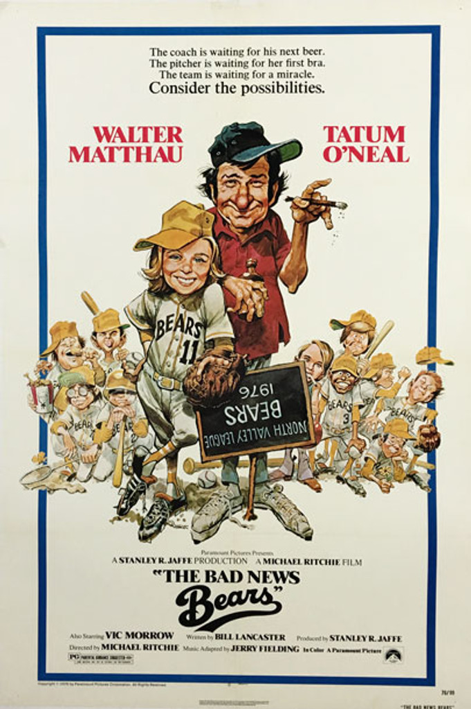 The Bad News Bears original American movie poster from 1976 by Jack Davis.
