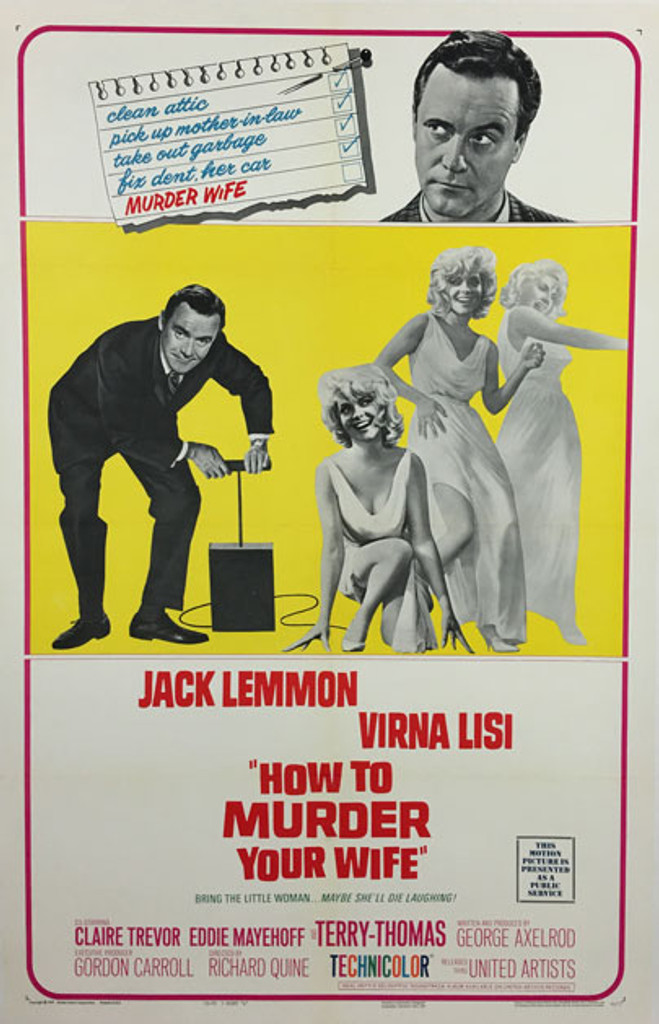 How to Murder Your Wife Original vintage movie poster from 1965 with Jack Lemmon and Virna Lisi.