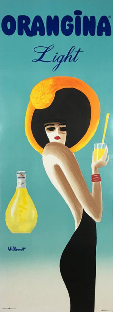 Orangina Light original poster by Bernard Villemot. French food advertisement for orange lemon sparkling drink.