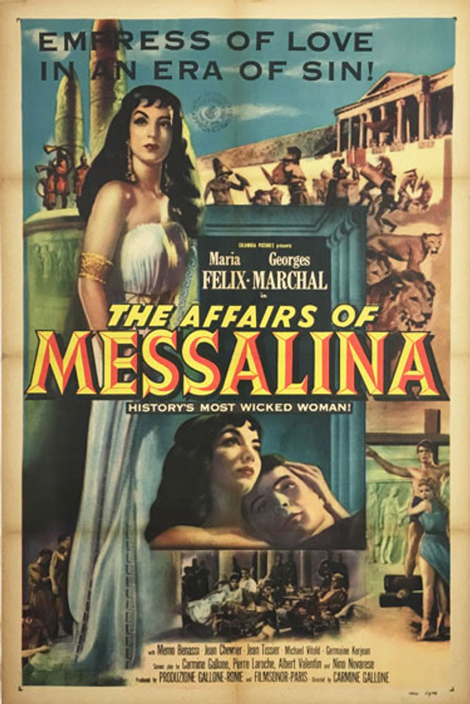 The Affairs of Messalina Empress of Love in a Era of Sin! original American vintage poster from 1951.