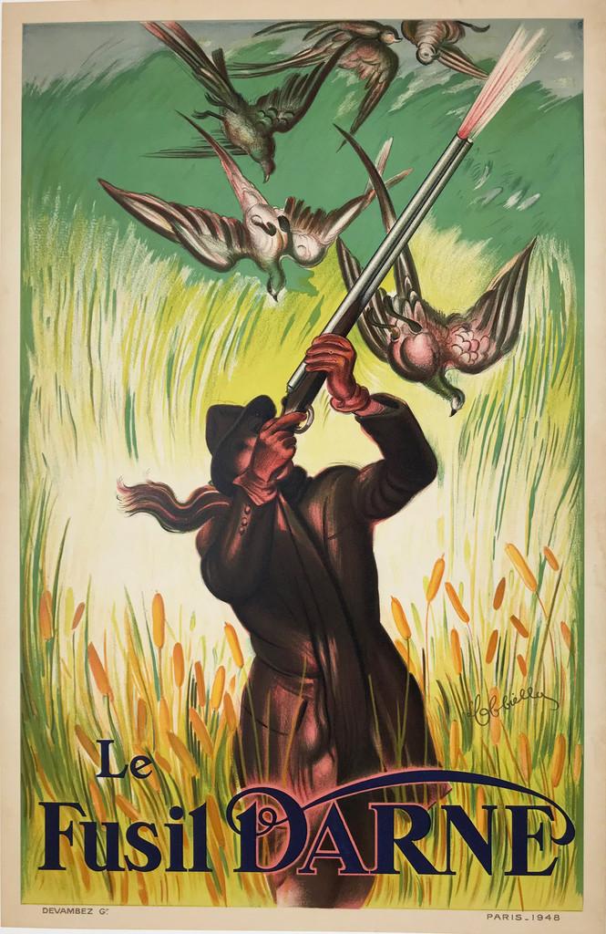 Le Fusil Darne original antique lithographic poster from 1948 France by L. Cappiello.
