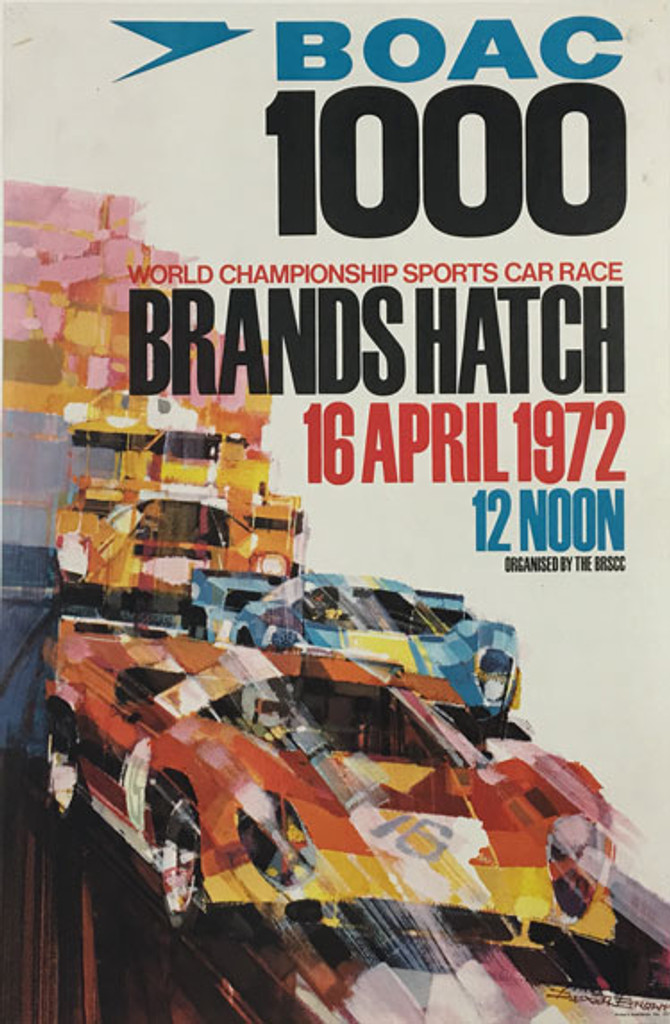 Original vintage advertising offset lithograph poster for the 1972 Brand Hatch race sponsored by BOAC by Dexter Brown.