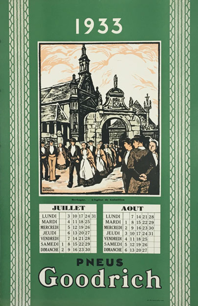 Goodrich Pneus Bretagne Roger Broders 1933 original vintage poster with July and August calendar.