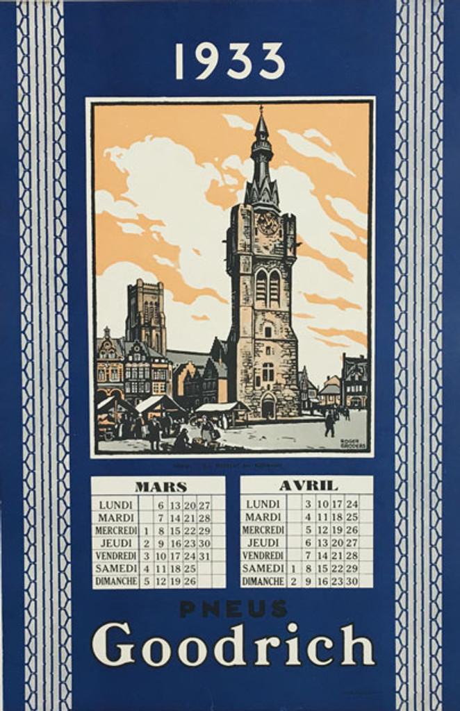 Goodrich Pneus Nord original Roger Broders vintage travel poster from 1933 France.