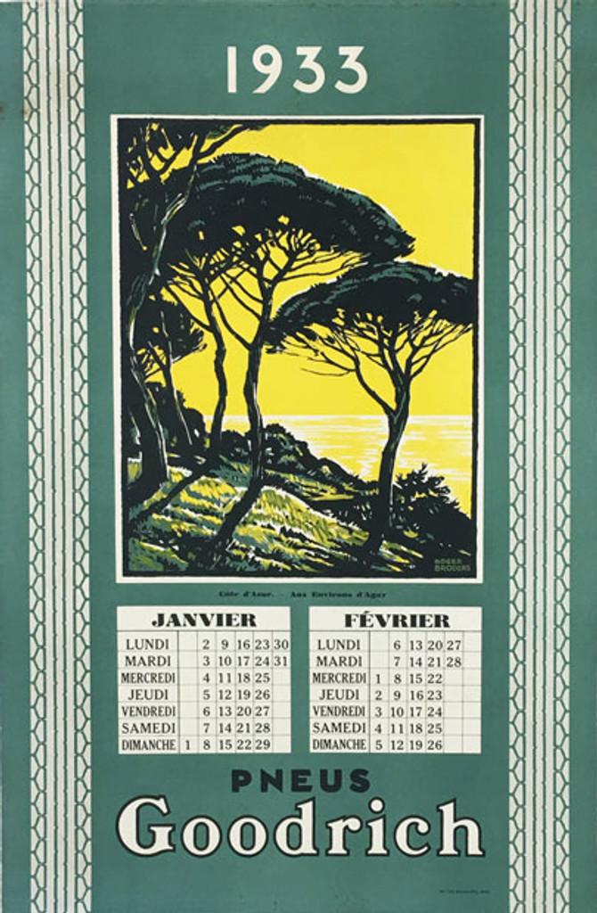 Goodrich Pneus Cote d Azur original vintage poster from 1933 France by artist Roger Broders, January February calendar.