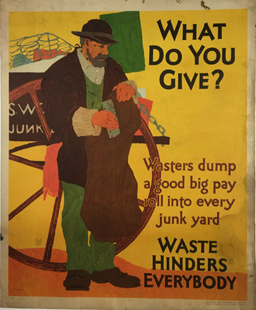 What Do You Give? Wasters dump a good big pay roll into every junk yard, Waste Hinders Everybody. Original American vintage poster from 1929 by Willard Frederic Elmes