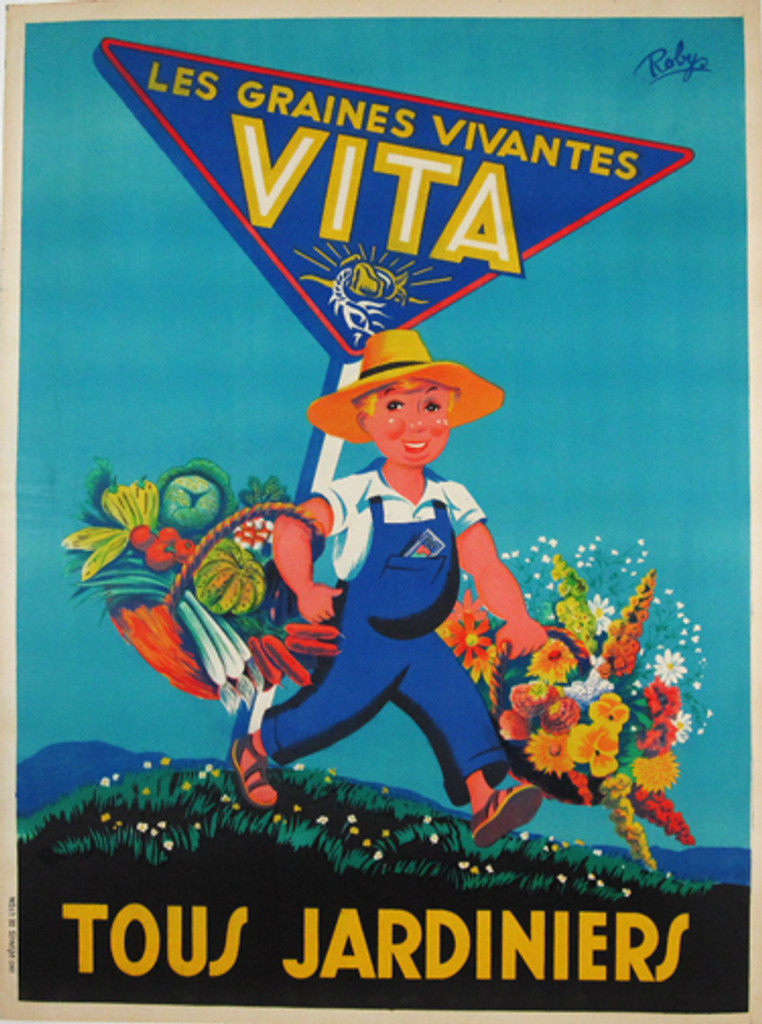 Vita Les Graines Vivantes original vintage product poster by Robys from 1930 France.