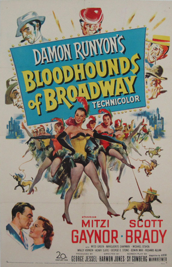 Bloodhounds of Broadway original American movie poster from 1952.