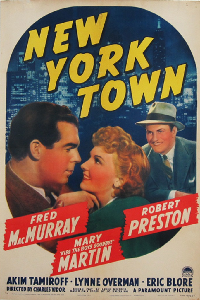 New York Town original vintage poster from 1941. American movie advertisement with Fred Mac Murray, Mary Martin, Robert Preston.