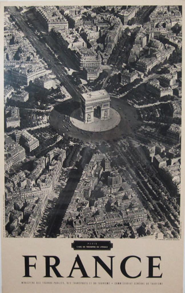 France L Arc De Triomphe De L Etoile original vintage travel poster from 1959 France by Imp. G. Lang