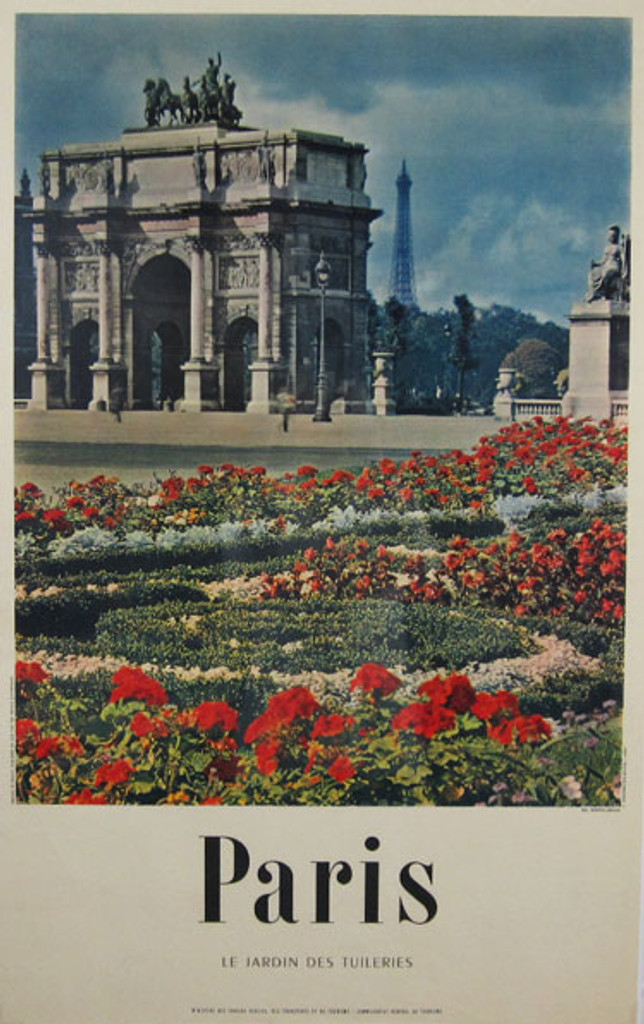 Paris Le Jardin Des Tuileries original vintage poster from 1959 France printed by IMP. E. Defosses. French tourism advertisement with Arc de Triomphe du Carrousel and Eiffel Tower in a back.