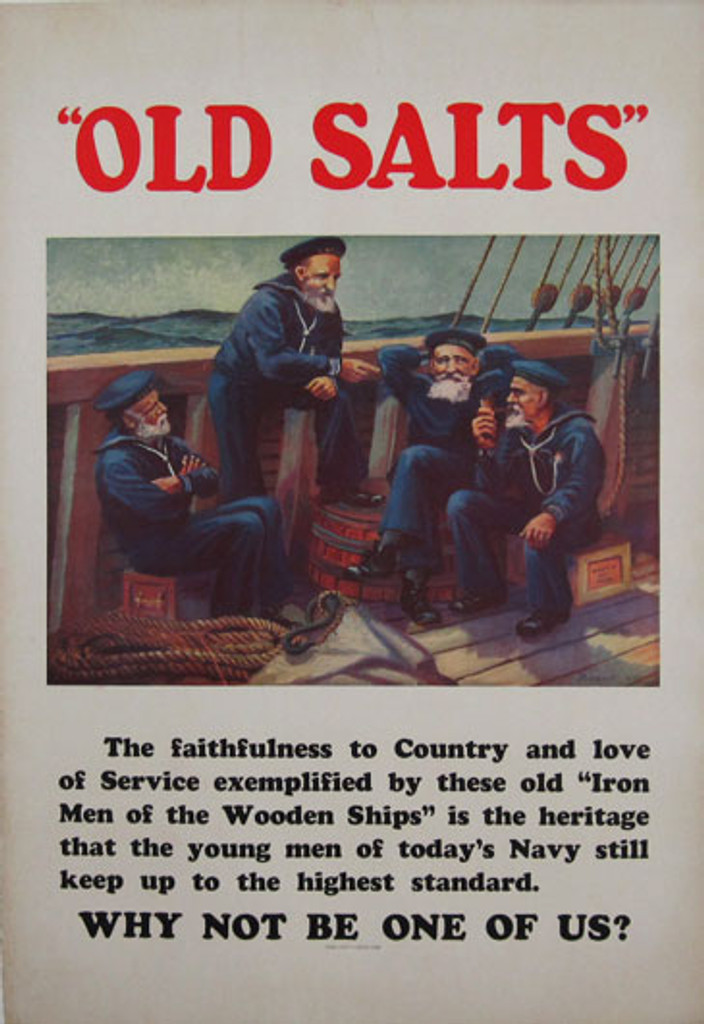 Old Salts original vintage war poster by Burbank from 1932. American Navy lithographic advertisement.