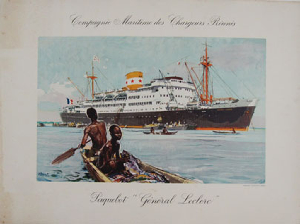 CMCR Paquebot General Leclerc Compagnie Maritime des Chargeurs Reunis original horizontal vintage poster from 1950 by A. Brenet.