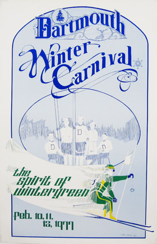 Dartmouth Winter Carnival the spitit of wintergreen original vintage poster from 1977 by Tom Vieth. American travel advertisement for great ski destination and winter sports.