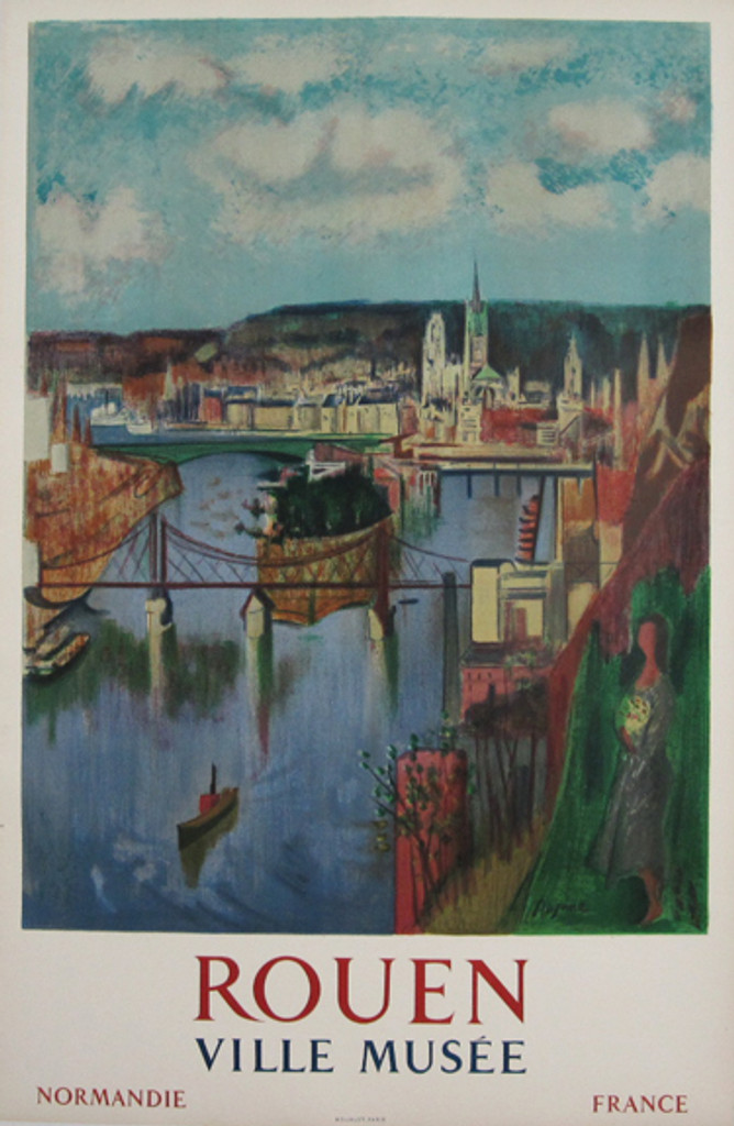 Rouen Ville Musee Normandie France original 1958 French travel poster printed by Mourlot for Aujamo.