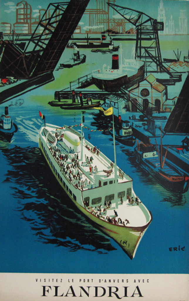 Flandria original vintage Belgium travel poster from 1950 by artist Eric. Features large ship cruise line with people on it leaving port Anvers.