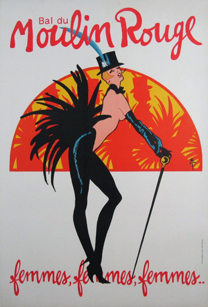 Bal du Moulin Rouge femmes, femmes, femmes..... original  vintage poster by Gruau from 1983 France. on a white background topless dancer with a top hat, cane and feather tail costume.