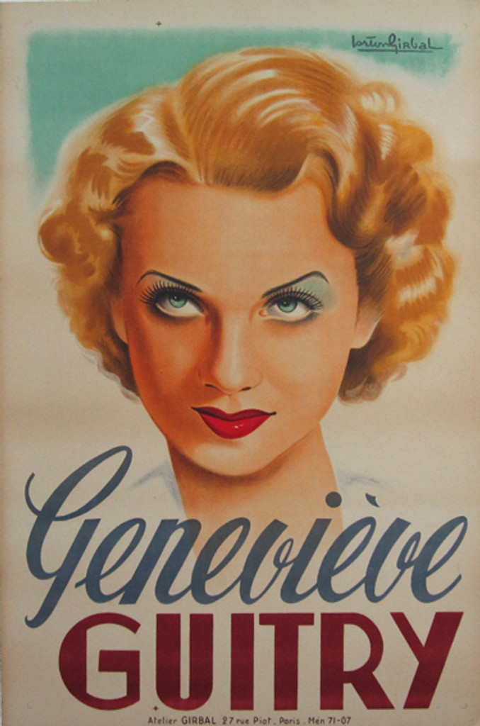 Genevieve Guitry original vintage poster from 1929 France by artist Lorton Girbal.