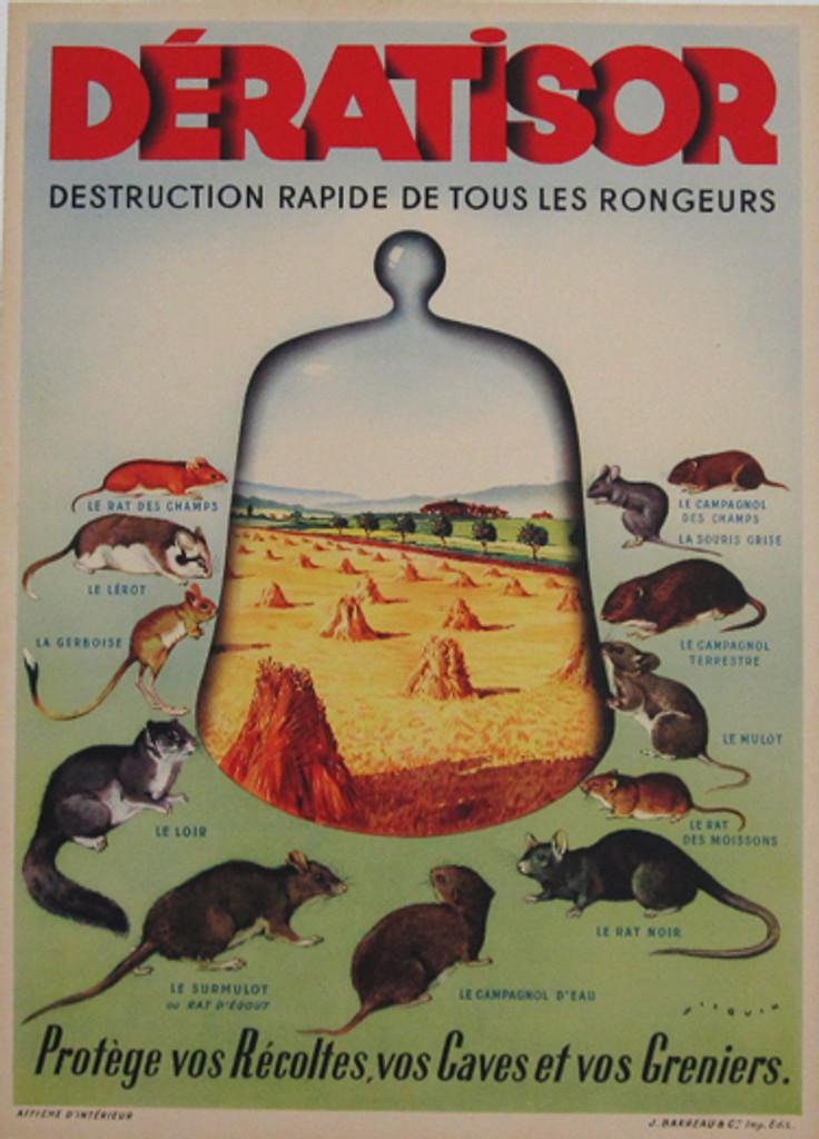 Deratisor Destruction Rapide De Tous Les Rongeurs original vintage poster from 1930 by Wilquin.