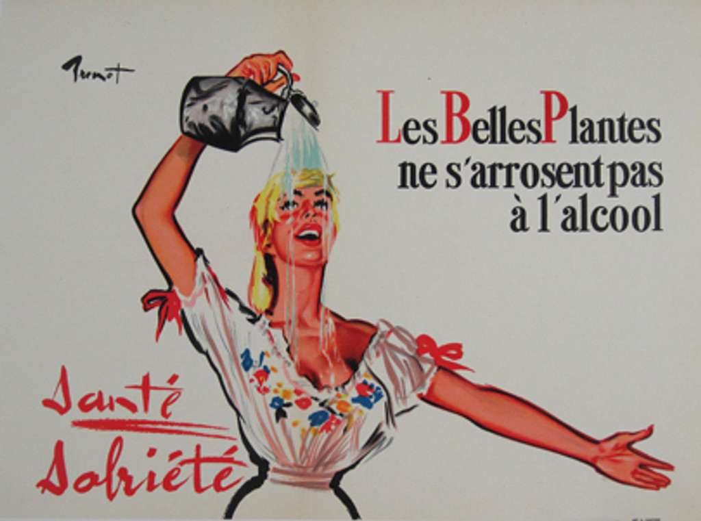 Les Belles Plantes original vintage poster from 1950 by Brenot. French advertisement beautiful plants only water not alcohol.