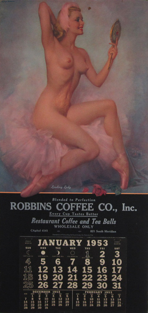 Robbins Coffee Co. Leading Lady original American vintage Pin Up Girl poster with calendar from 1953 by Zoe Mozert.
