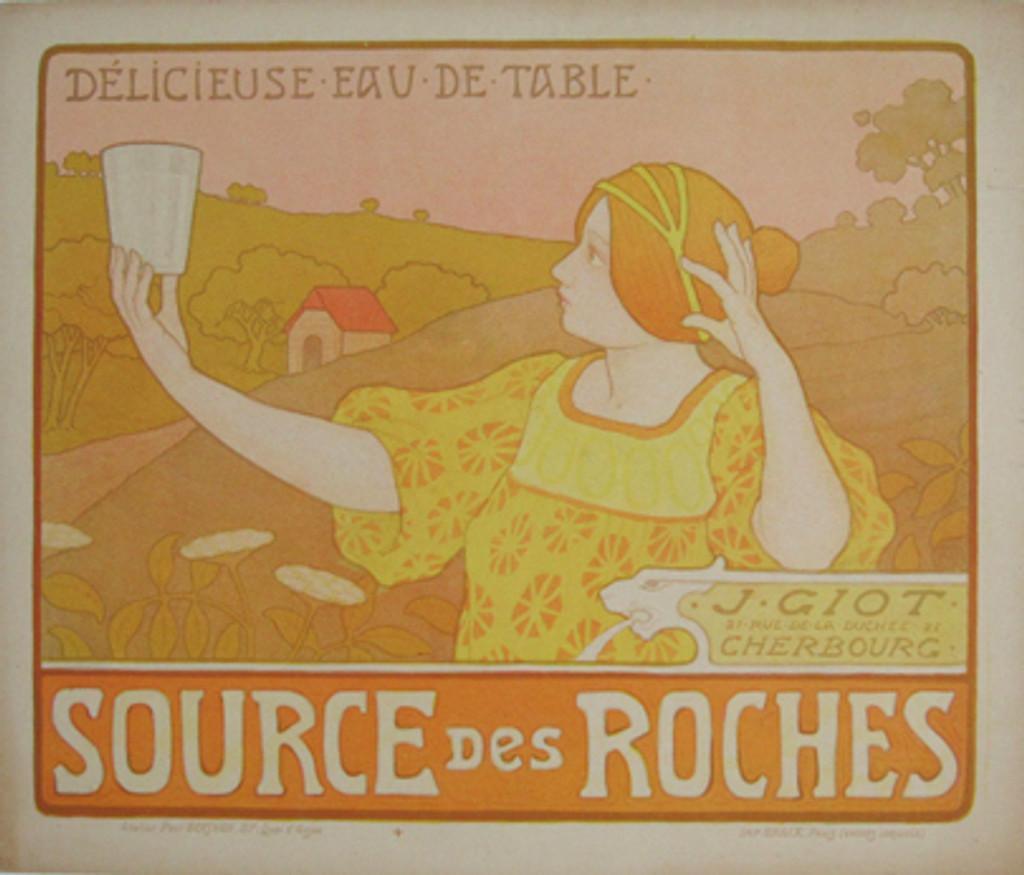 Source Des Roches Eau de Table original vintage poster from 1899 by artist Paul Berthon. Art Nouveau advertisement for water.