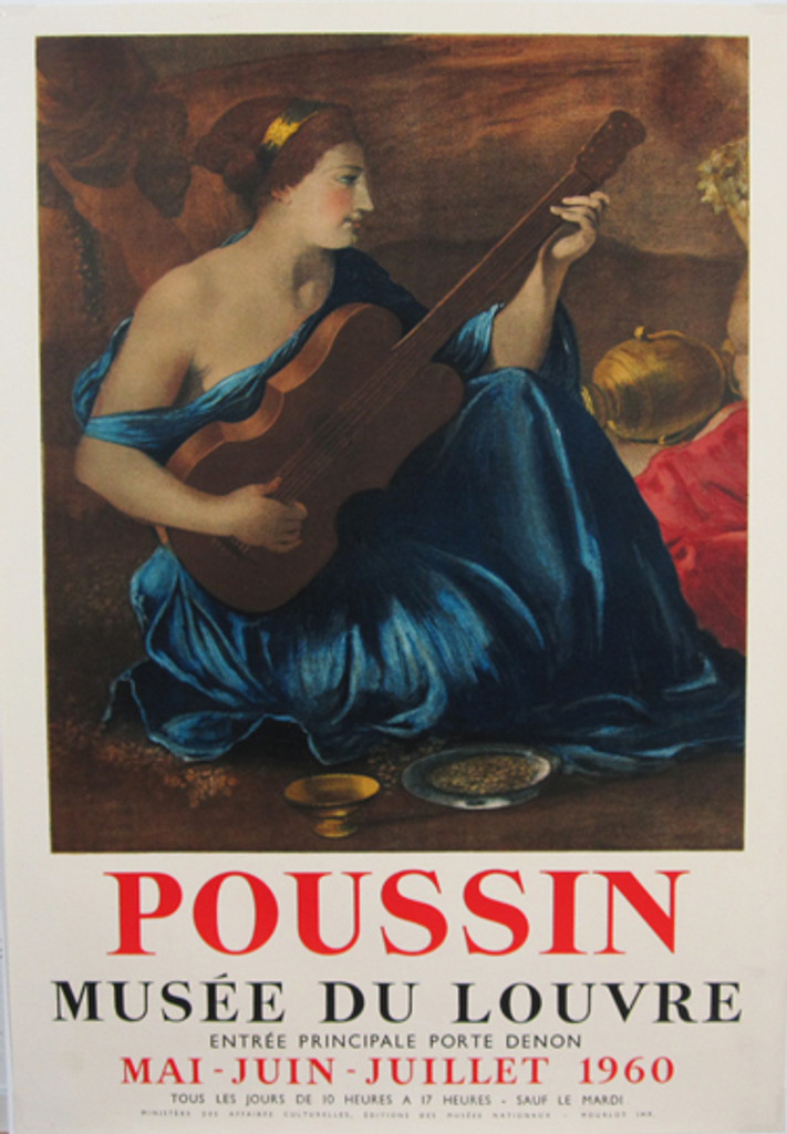 Musee Du Louvre Poussin original exhibition French poster from 1960 by artist Mourlot.