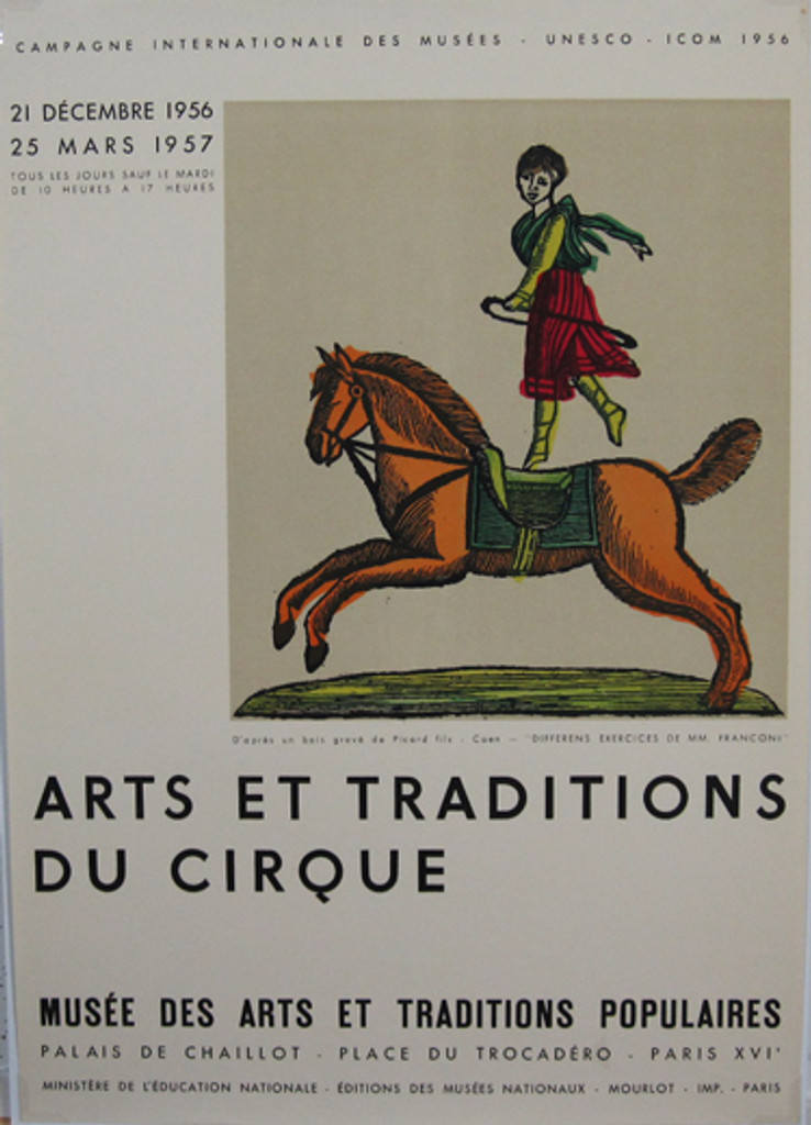 Arts Et Traditions Du Cirque original vintage poster by Mourlot from 1958 France.