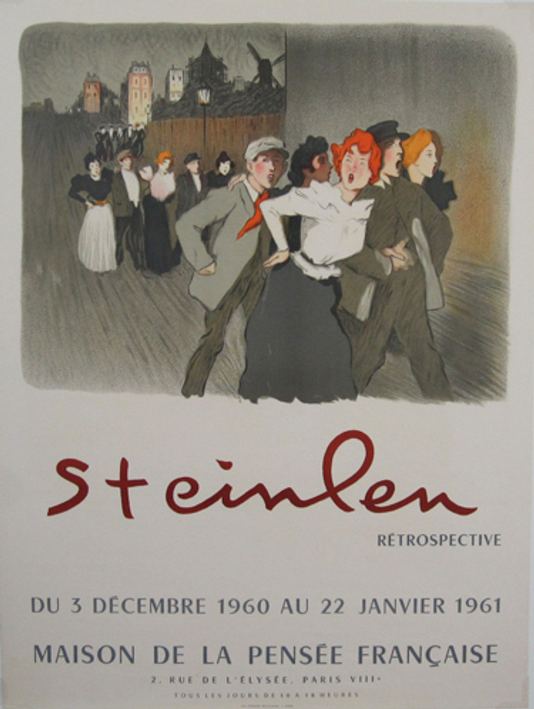 Steinlen Retrospective original vintage poster from 1960 printed by Les Presses Artistiques.