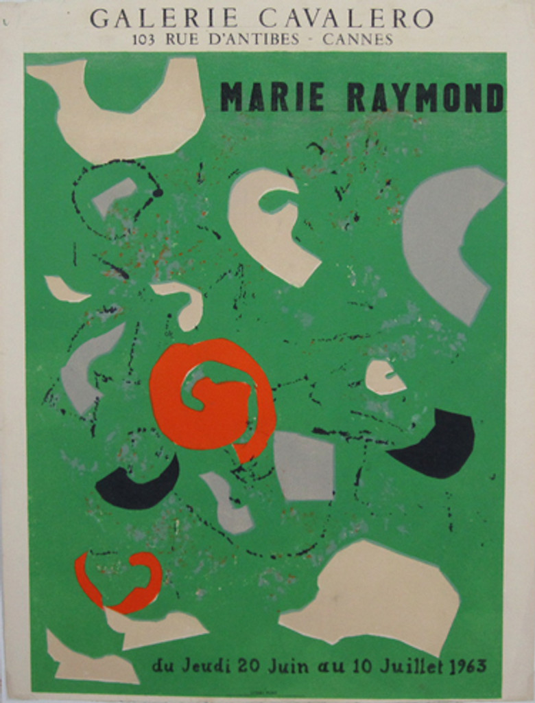 Marie Raymond Galerie Cavalero original vintage poster from 1963 printed by Litho Pons.