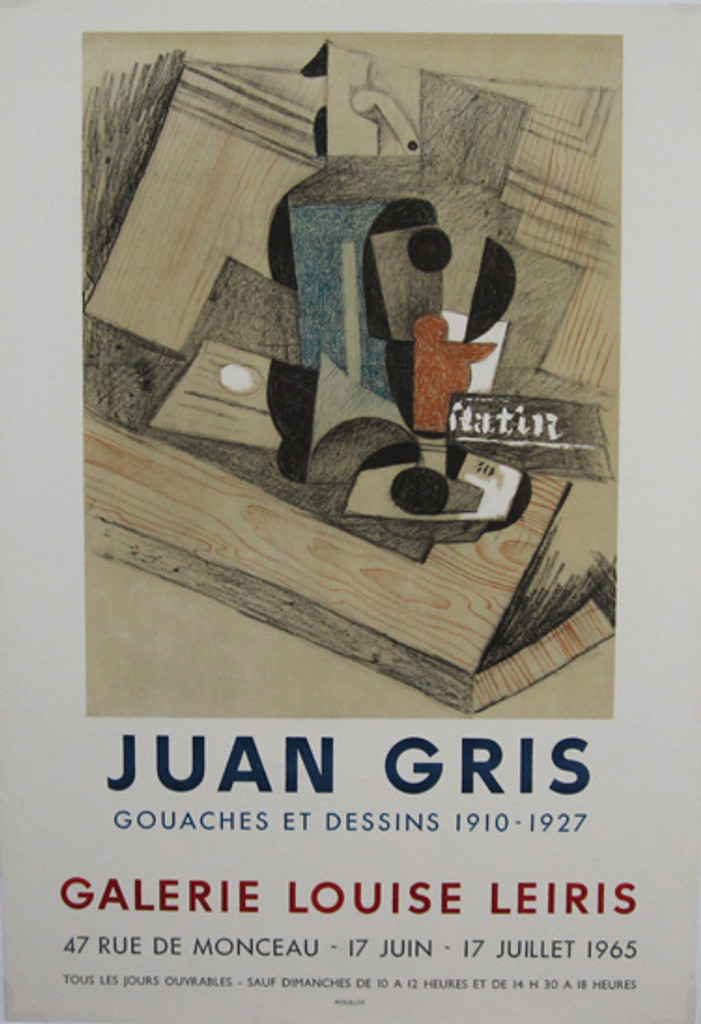 Juan Gris Galerie Louise Leiris original vintage poster from 1965 by Mourlot. French gallery exhibition advertisement.