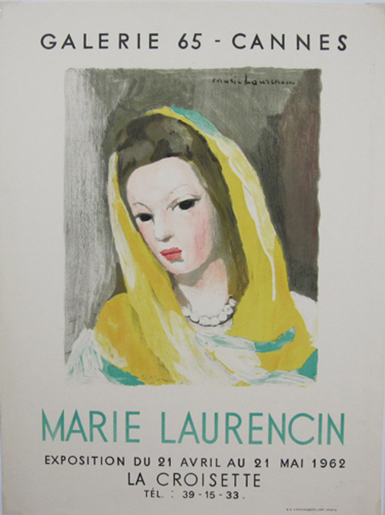 Marie Laurencin Exposition Galerie 65 Cannes La Croisette original vintage poster from 1962 by J. Desjobert. French advertisement for gallery exhibition.