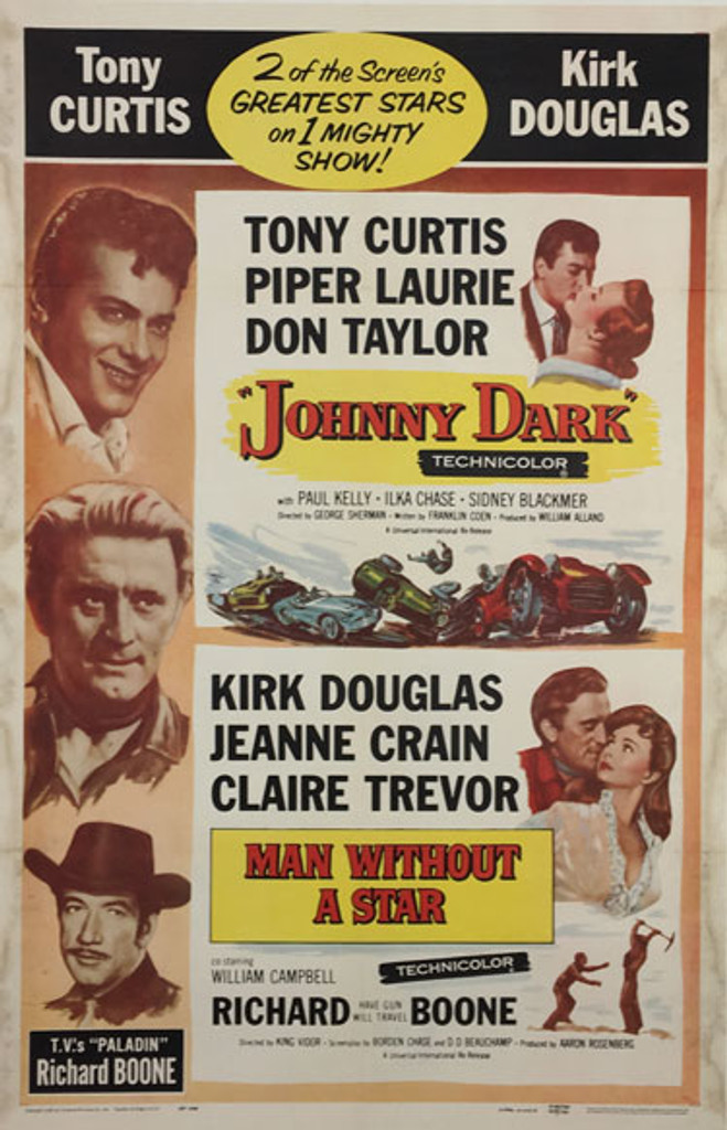 Man Without A Star (Double bill release) original 1959 American movie poster.