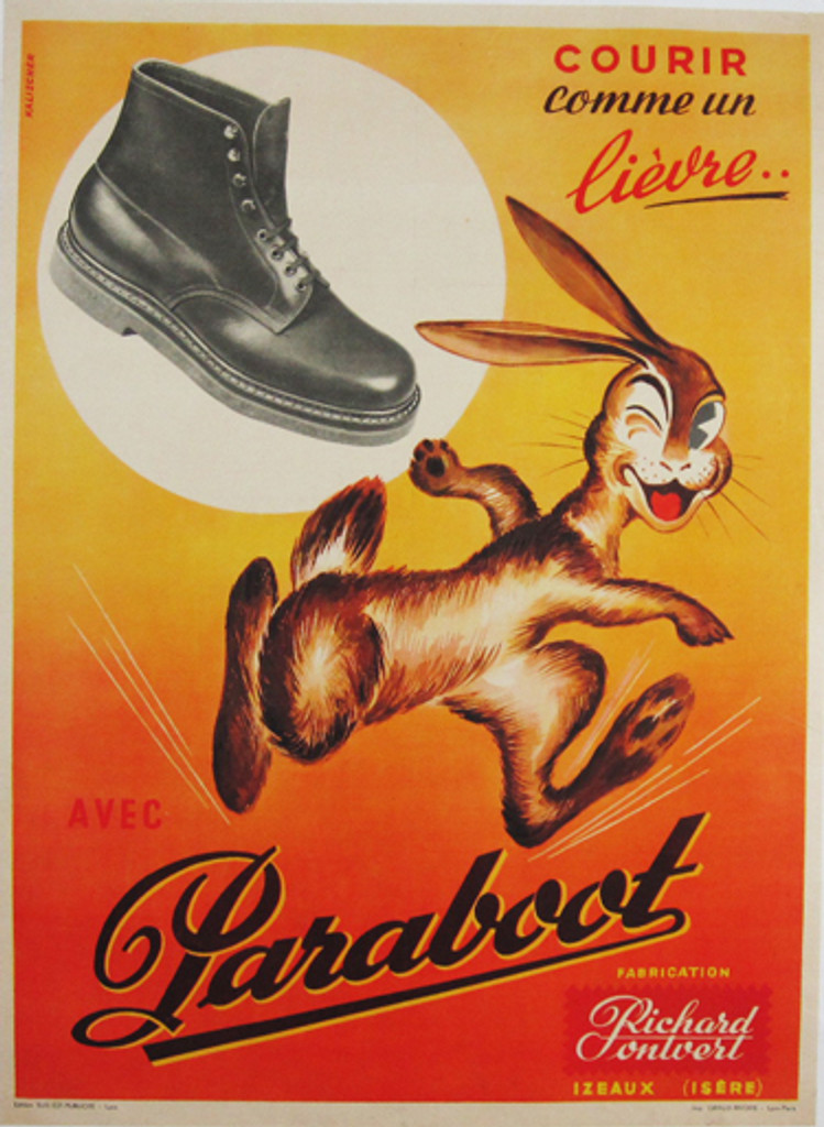 Paraboot original vintage poster by artist Kalischer from 1948 France. French advertisement for shoes with smiling rabbit running and winking on one eye.