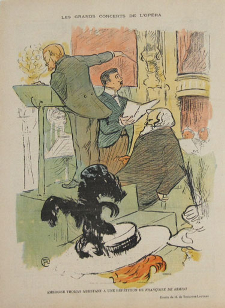 Le Rire Les Grans Concerts De L Opera by famous artist Henri Toulouse Lautrec from 1897 France - French page from a humor magazine features men playing in front of an audience. Original Vintage posters from Spencer Weisz Galleries.