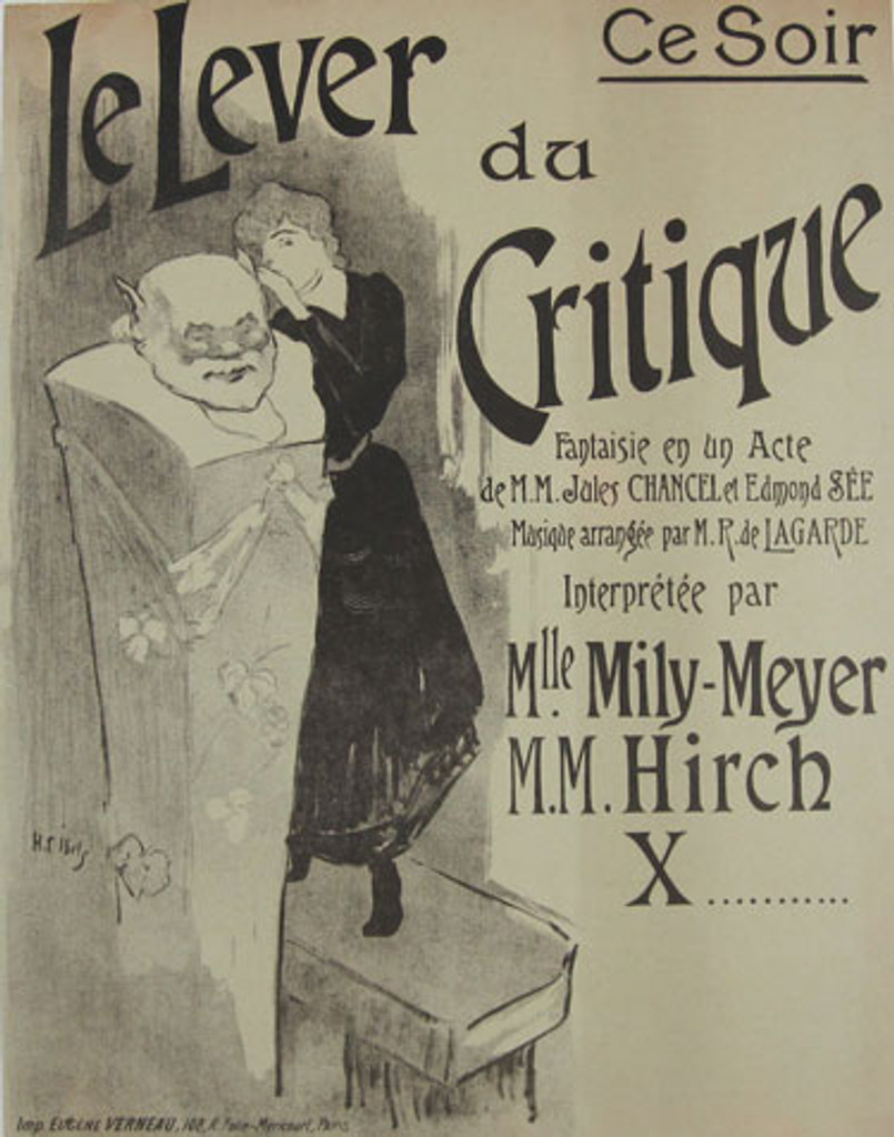 Le Lever Du Critique original vintage theater poster by Ibels from 1896 France.