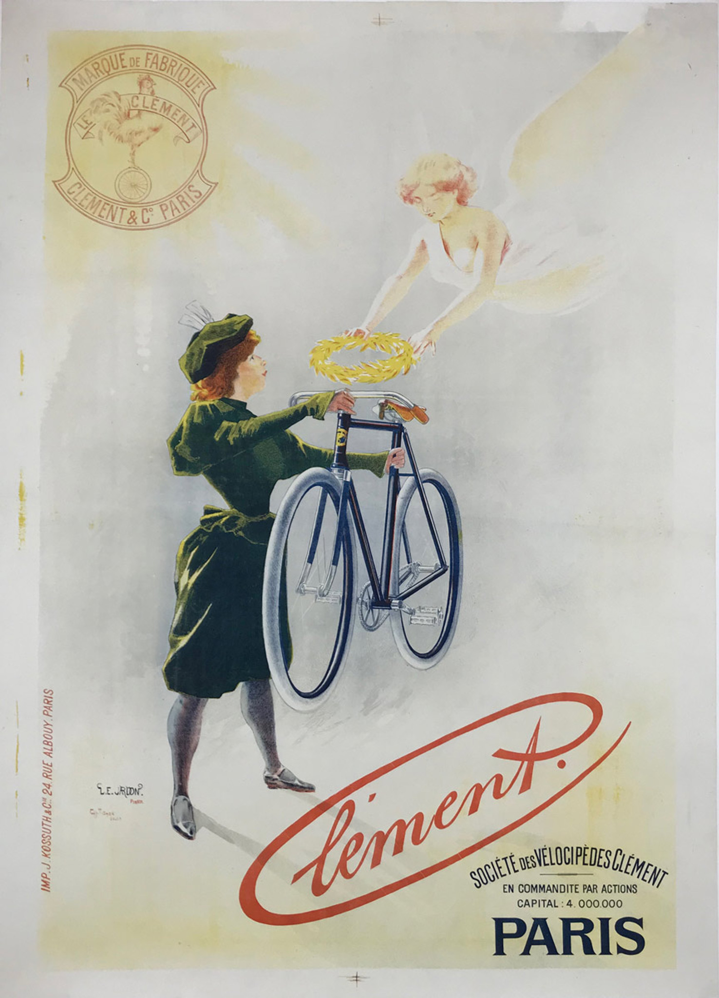 Cycles Clement Bicycle Original Poster By Tichon