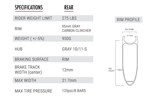 9.5 Carbon Clincher - Rear - 10 Speed