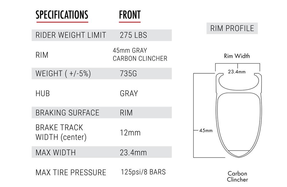 45 Carbon Clincher - Front