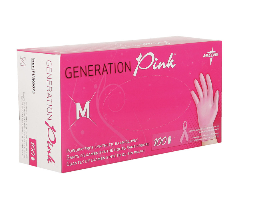 Generation Pink Latex Free Synthetic Exam Gloves, 100 count