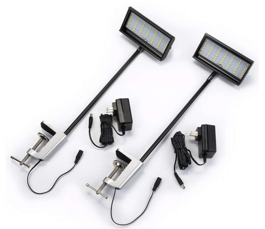 Set of 2 LED Flood Lights for Kahuna Bay Extraction Booth, 12 Watt - Black