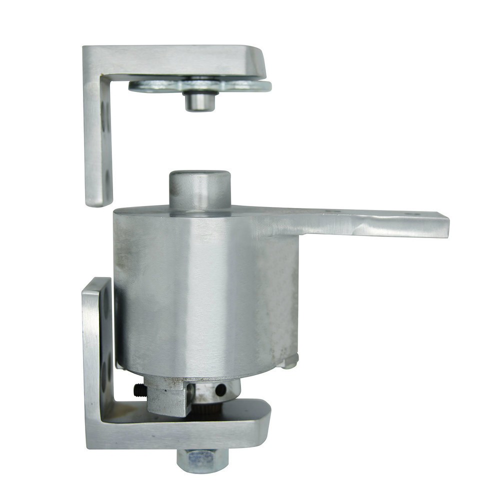 "Bommer Brass Surface Adjustable Spring Pivot Hinge | Saloon Doors/ Swinging Cafe Doors - 36"" Wide Doors shown in Satin Chrome"