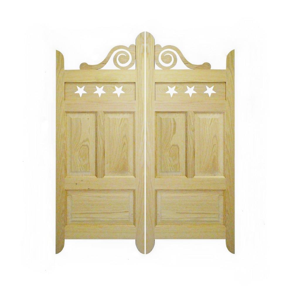 Custom Scroll Oak Cafe | Saloon Doors- Lattice Design