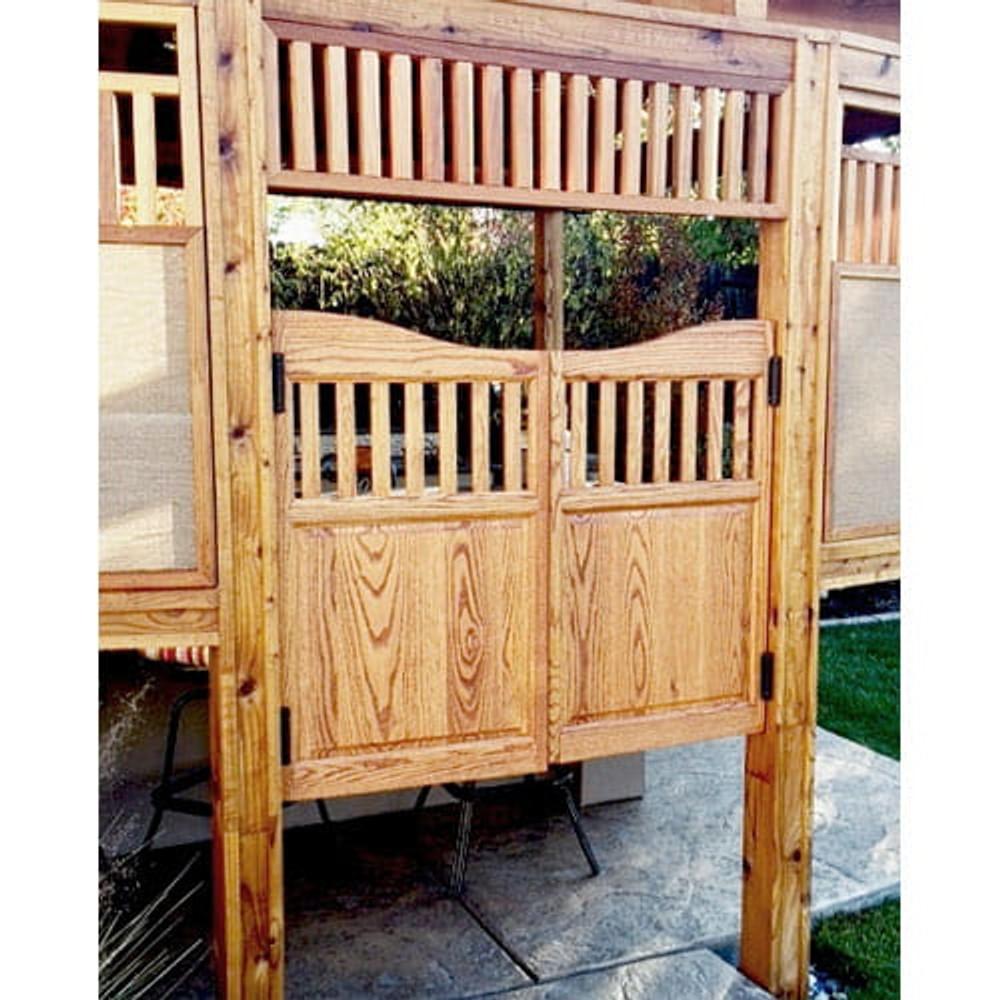 Mission Style Oak Saloon Doors Installed