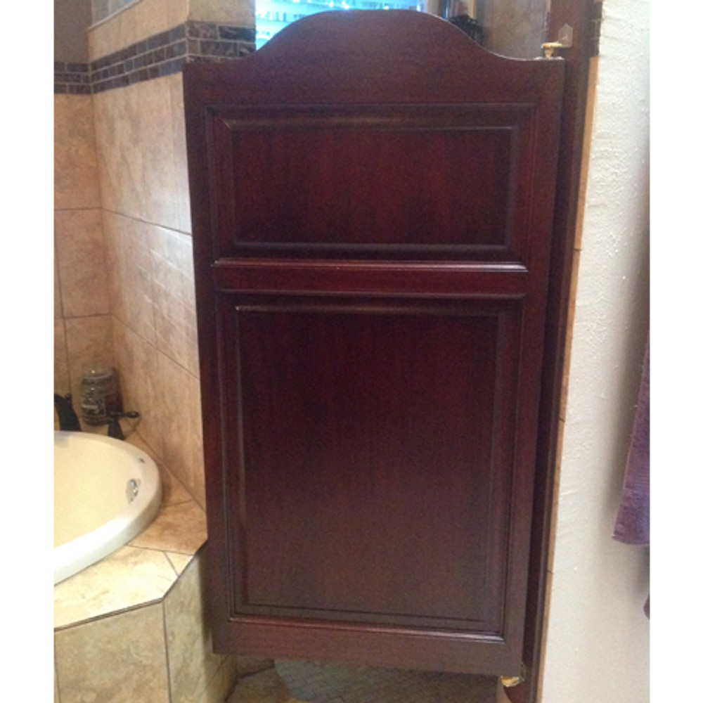 Sapele Wood Stained Single Center Arch Shower Doors