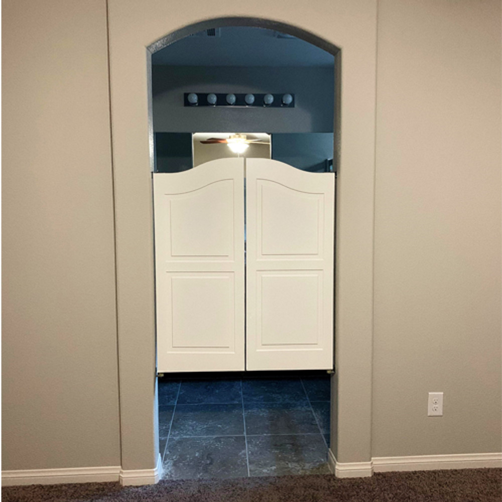 Finished Arch Top Farmhouse Doors- Bathroom Doors Installed