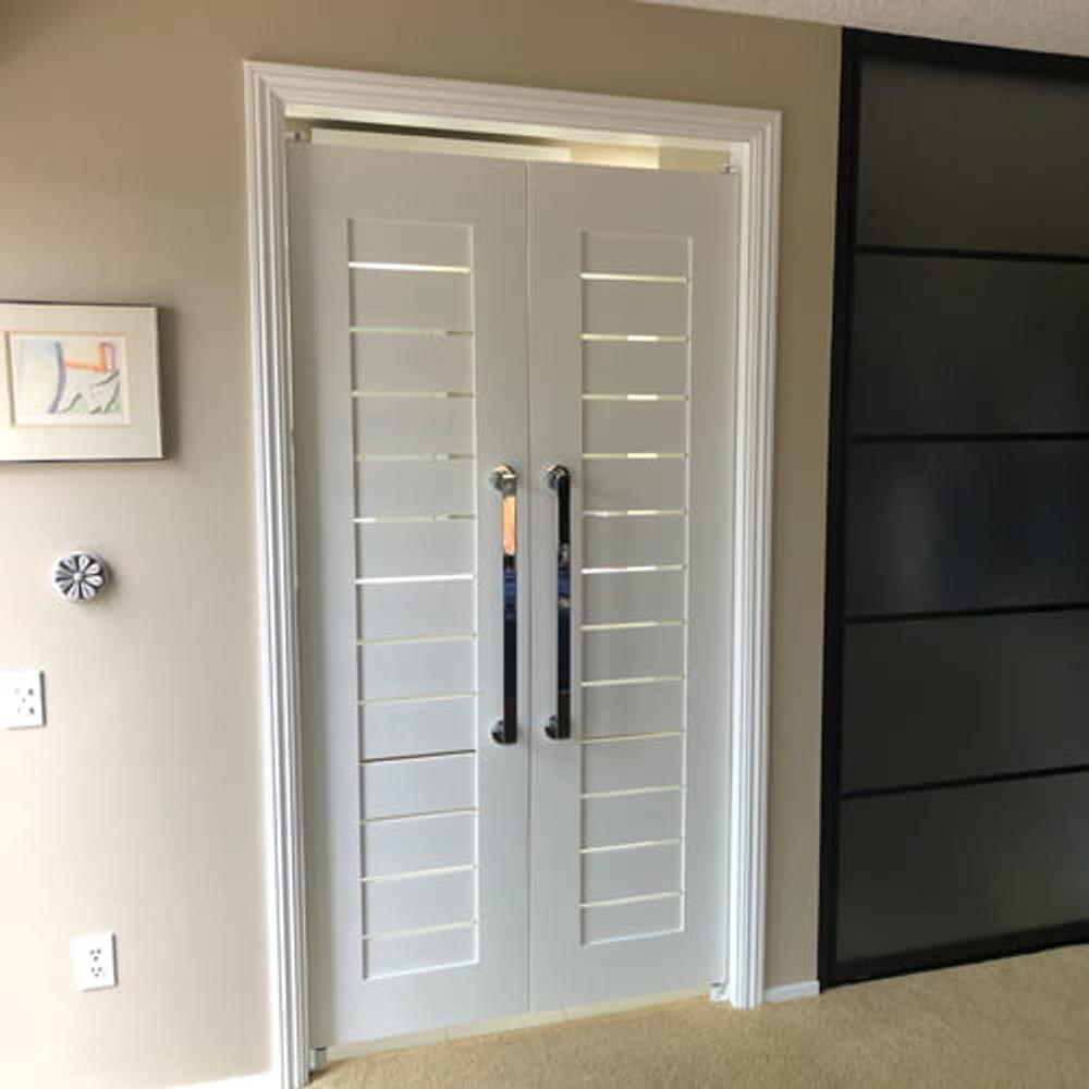 Installed Modern Slat Swinging Doors