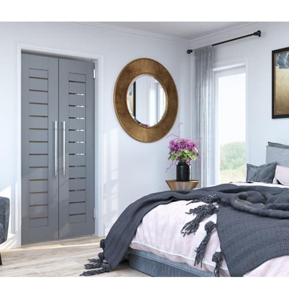 Installed Full Length Modern Slat Double Swinging Doors