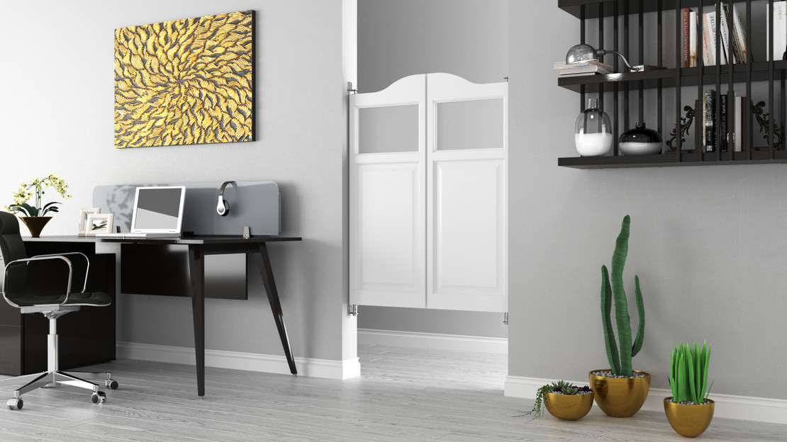 Home Sweet Home: How to Use a Cafe Door to Create Space for a Home Office